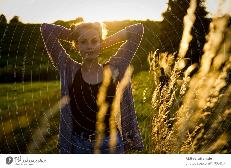 Alexa lights up. Feminine Young woman Youth (Young adults) 1 Human being 13 - 18 years Environment Nature Landscape Sunrise Sunset Sunlight Grass Meadow Field