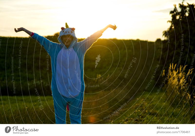 Alexa unicorn. Human being Feminine Woman Adults Youth (Young adults) 1 18 - 30 years Environment Nature Landscape Sky Summer Meadow Field Lanes & trails Suit