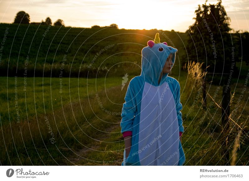Human being Nature Youth (Young adults) Blue Beautiful Green Young woman Landscape 18 - 30 years Adults Environment Emotions Lanes & trails Meadow Feminine Happy