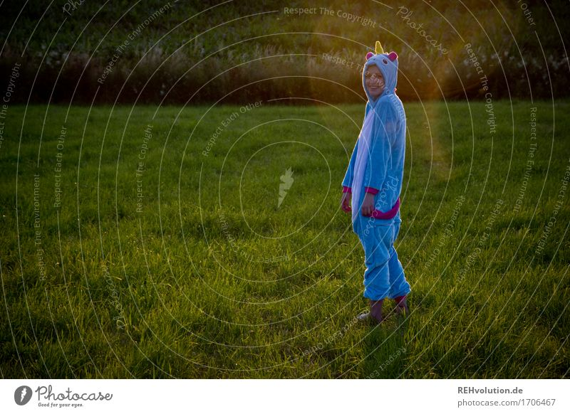 Human being Nature Youth (Young adults) Blue Plant Beautiful Green Young woman Landscape Joy 18 - 30 years Adults Environment Meadow Funny Grass
