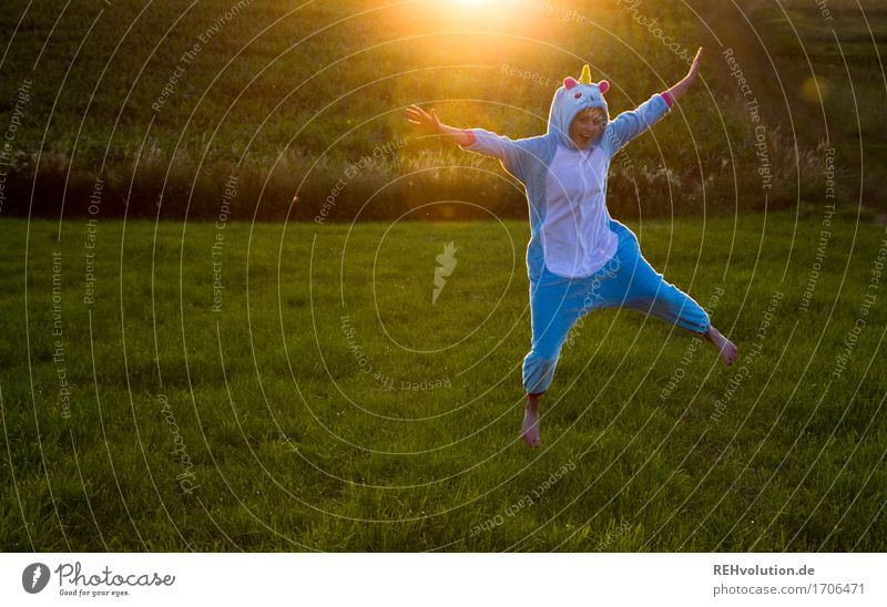 enthusiastic unicorn Human being Feminine Young woman Youth (Young adults) 1 18 - 30 years Adults Environment Nature Landscape Sun Summer Meadow Field Clothing