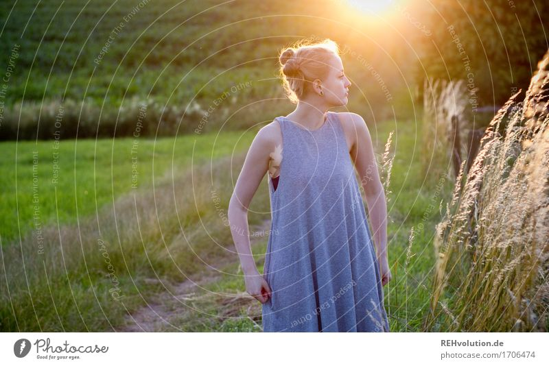Alexa in the evening light. Human being Feminine Young woman Youth (Young adults) 1 18 - 30 years Adults Environment Nature Landscape Sun Summer