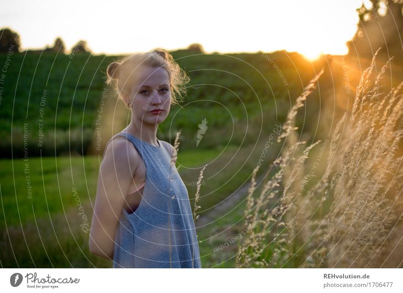 Human being Nature Youth (Young adults) Summer Beautiful Green Young woman Landscape 18 - 30 years Adults Environment Meadow Feminine Exceptional Hair and hairstyles Field
