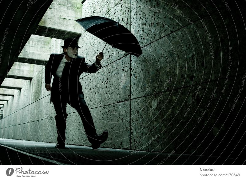 Human being Man Black Adults Dark Emotions Elegant Masculine Crazy Esthetic Gloomy Hat Under Suit Whimsical Tunnel