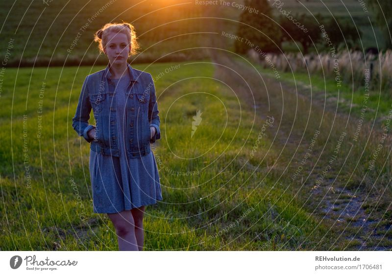 Alexa in the evening light. Trip Human being Feminine Young woman Youth (Young adults) 1 18 - 30 years Adults Environment Nature Landscape Grass Meadow Field