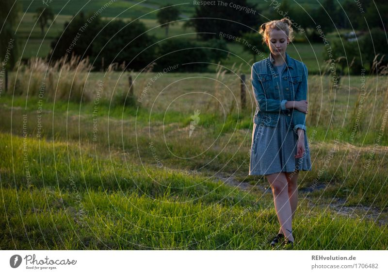 Alexa tonight. Youth culture Environment Nature Landscape Summer Grass Meadow Dress Jacket Hair and hairstyles Blonde Long-haired Think Stand Authentic