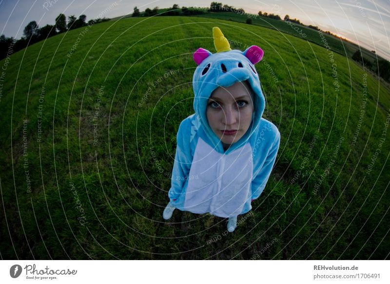 artificial unicorn Human being Feminine 1 18 - 30 years Youth (Young adults) Adults Environment Nature Landscape Meadow Field Stand Wait Mythical creature