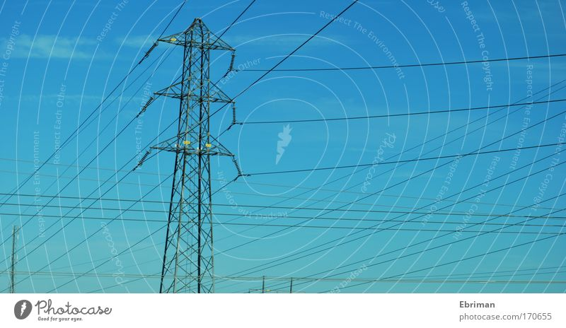 Sky Blue Environment Above Gray Air Metal Line Tall Modern Large Energy industry Esthetic Electricity Cable Future