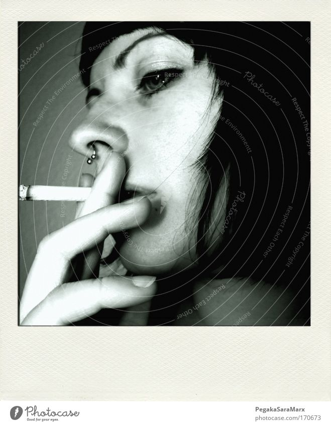 smoke Subdued colour Interior shot Polaroid Artificial light Profile Smoking Feminine Young woman Youth (Young adults) Life Head Hair and hairstyles Face Eyes