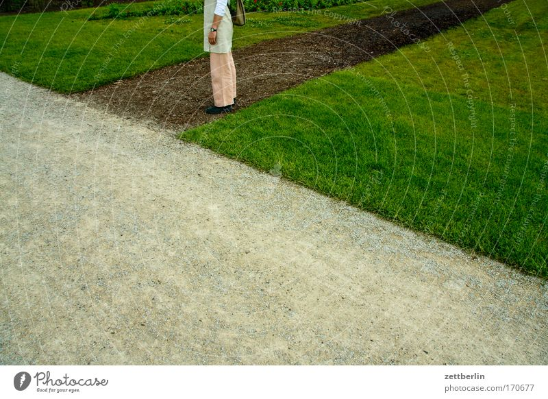 Woman Green Plant Meadow Grass Garden Lanes & trails Park Legs Wait Hiking Corner Lawn Stand To go for a walk Pants