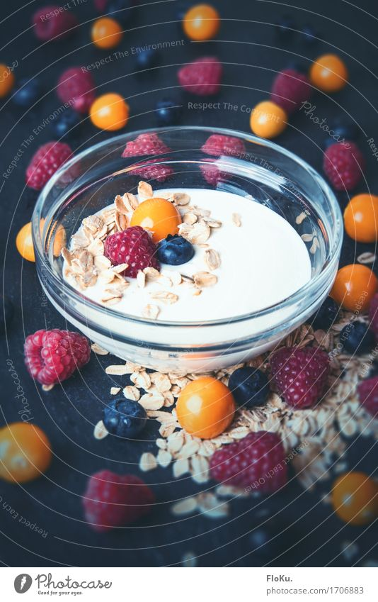 delicious berries Food Yoghurt Dairy Products Fruit Grain Bowl Healthy Healthy Eating Delicious Natural Sweet Blue Orange Red Diet Raspberry Physalis Blueberry