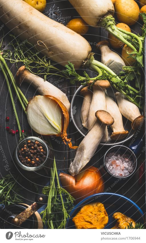 Mushrooms with cooking ingredients Food Vegetable Nutrition Organic produce Vegetarian diet Diet Crockery Plate Bowl Style Design Healthy Eating Life Table