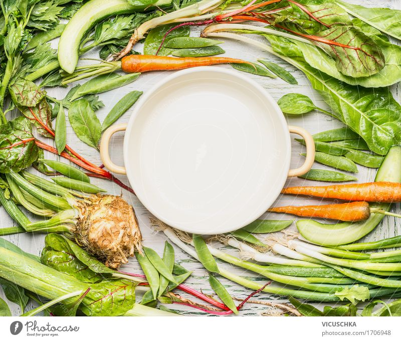 Green vegetables around empty cooking pot Food Vegetable Nutrition Lunch Dinner Organic produce Vegetarian diet Diet Slow food Pot Style Design Healthy Eating