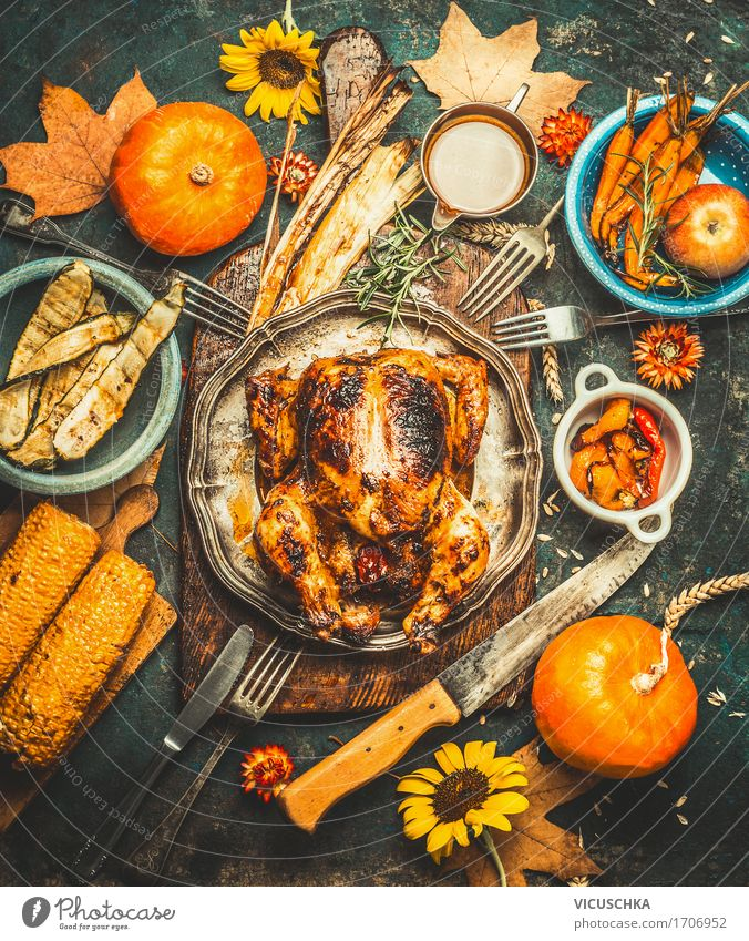 Harvest Festival Table with Pumpkin and Roasted Chicken Food Meat Vegetable Herbs and spices Nutrition Banquet Crockery Cutlery Style Design Living or residing