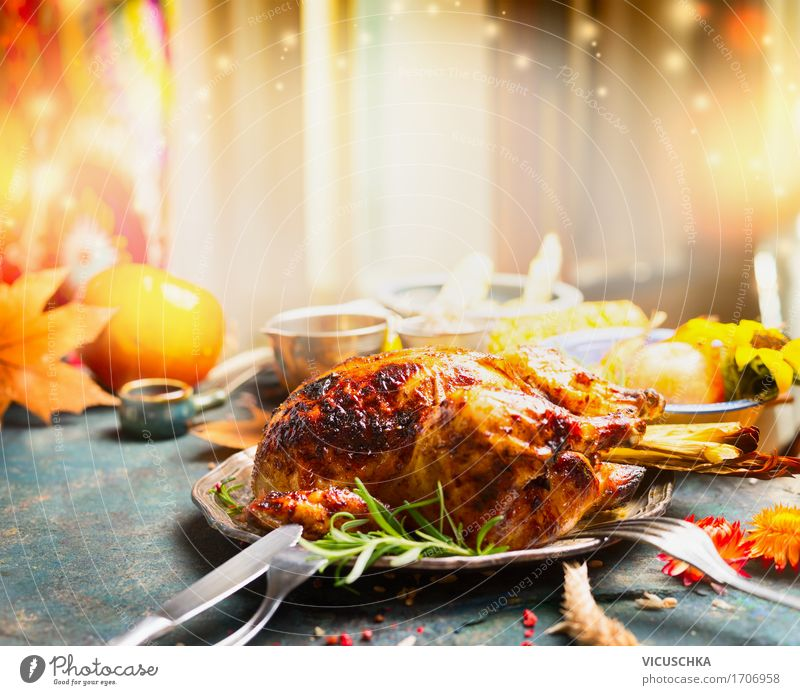 Thanksgiving table with fried chicken Meat Vegetable Herbs and spices Nutrition Banquet Crockery Plate Cutlery Style Design Interior design Decoration Table