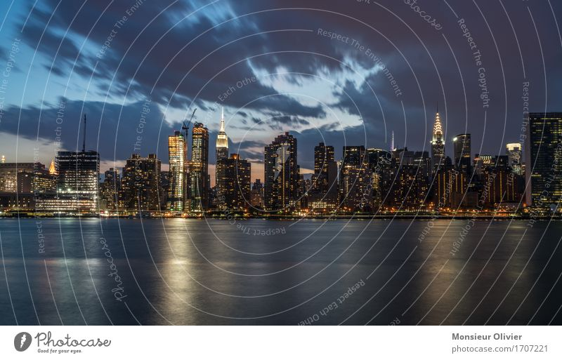 NYC Skyline New York City Manhattan USA Town Downtown Populated High-rise Architecture Free Hip & trendy Blue cityscape Colour photo Exterior shot Deserted