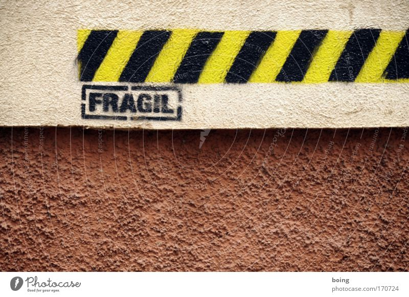 Graffiti Facade Safety Characters Protection Sign Fine Fragile Art Danger of collapse