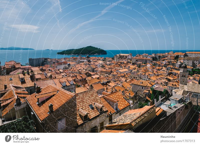 Dubrovnik XVl Vacation & Travel Sightseeing City trip Nature Sky Summer Beautiful weather Plant Ocean Island Croatia Town Port City Old town