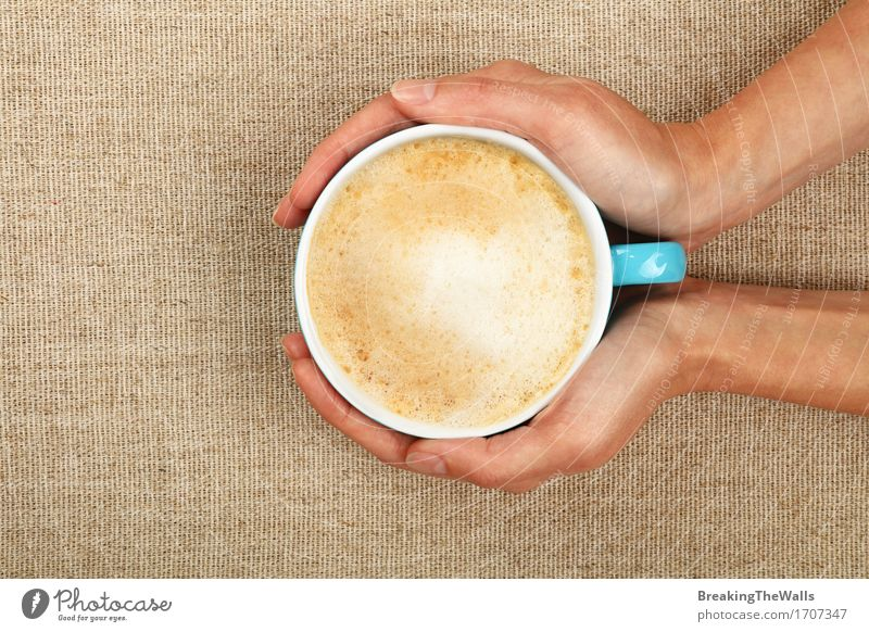 Two woman hands hold latte cappuccino coffee cup on canvas Woman Youth (Young adults) Young woman Hand Relaxation Adults Brown Vantage point To enjoy