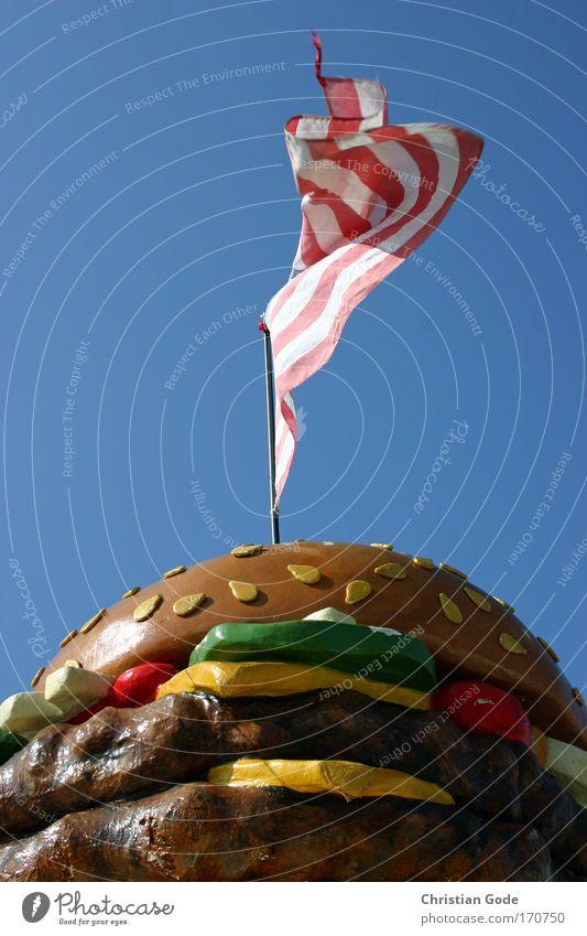 USA Deserted Blue Flag Flagpole Americas Ensign American Hamburger Lettuce Advertising Stripe American Flag Sky Sky blue Worm's-eye view Meat Fast food