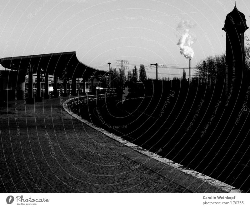 End of the line longing. Black & white photo Exterior shot Deserted Copy Space left Copy Space top Copy Space bottom Day Shadow Contrast Silhouette