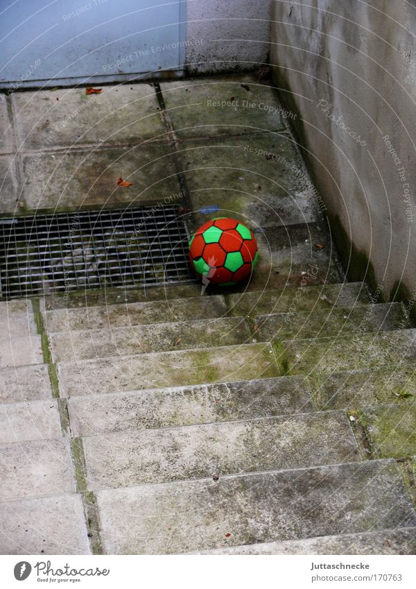 Lost and forgotten Ball Stairs staircase Toys Doomed Forgotten rolled away Roll roll away Infancy Under Grating Concrete Cellar Red Green Gray Playing