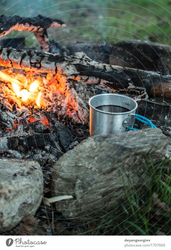 Making coffee on campfire Coffee Tea Pot Vacation & Travel Adventure Camping Summer Nature Forest Metal Steel Old Make Hot Natural Black Fireplace cooking smoke