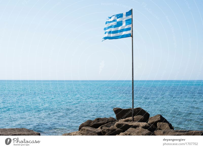 Greek flag on the beach Vacation & Travel Tourism Summer Ocean Island Landscape Sky Wind Flag Blue White Greece Europe Oia mediterranean background national