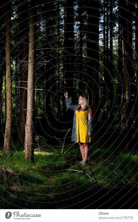 alone in the dark Colour photo Exterior shot Flash photo Contrast Feminine Young woman Youth (Young adults) 18 - 30 years Adults Nature Forest Fashion Dress