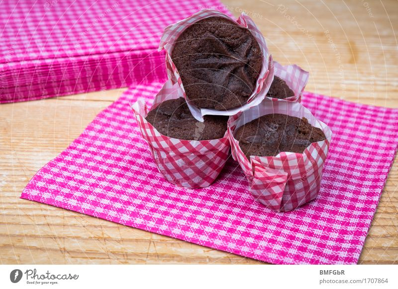 Sweet, little chocolate muffins Food Dough Baked goods Dessert Candy Chocolate Nutrition Breakfast To have a coffee Buffet Brunch Banquet Finger food Napkin