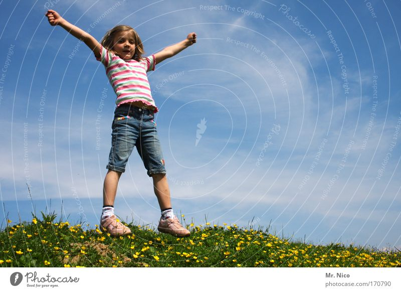 Child Nature Green Girl Summer Joy Meadow Freedom Happy Contentment Arm Hiking Happiness Human being Posture Hill