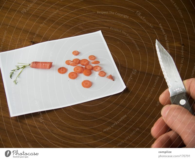 """Hattu carrot?"" Colour photo Interior shot Food Vegetable Nutrition Eating Lunch Organic produce Vegetarian diet Diet Fasting Knives Chopping board"