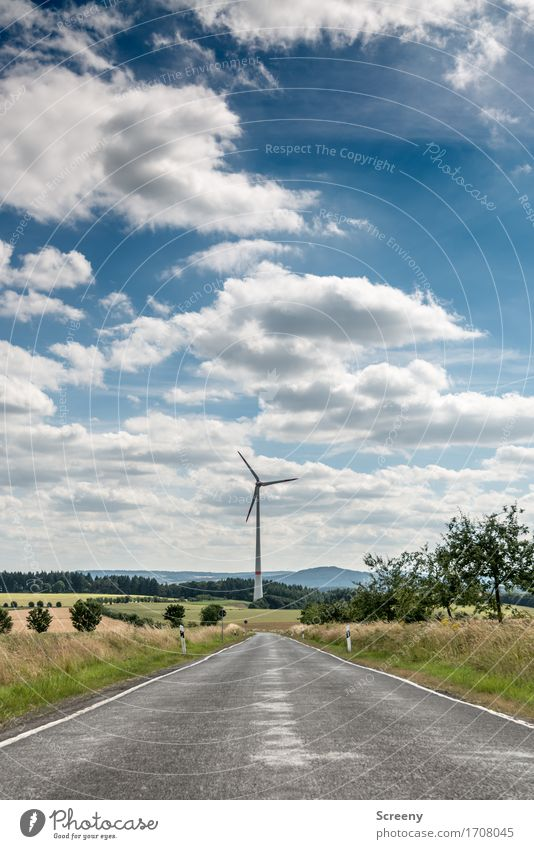 To the energy, this way... Energy industry Renewable energy Wind energy plant Nature Landscape Sky Clouds Summer Beautiful weather Grass Bushes Meadow Field
