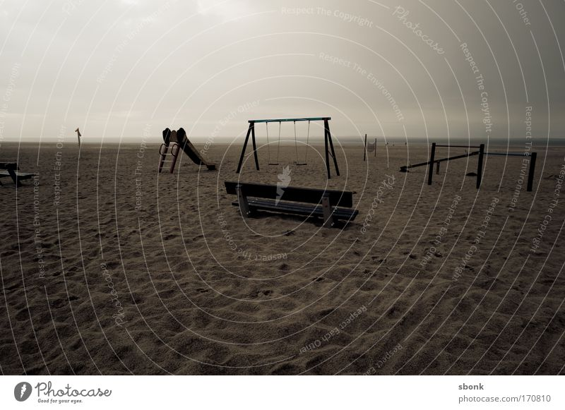 Old Ocean Beach Dark Playing Sand Empty Gloomy Bench Toys Kindergarten Swing Playground Parenting Slide Desolate