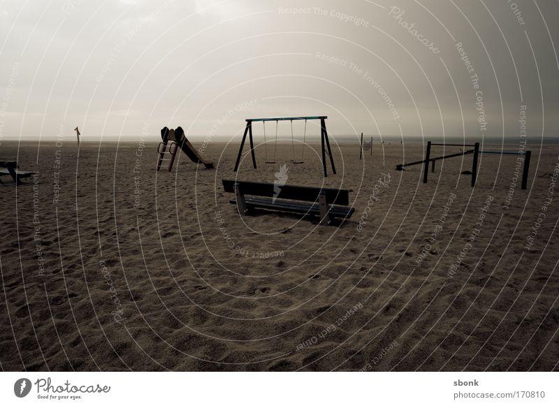 speeltuin Exterior shot Deserted Evening Twilight Beach Ocean Kindergarten Playground Toys Playing Old Gloomy Desolate Empty Dark Swing Slide Bench Sand Day