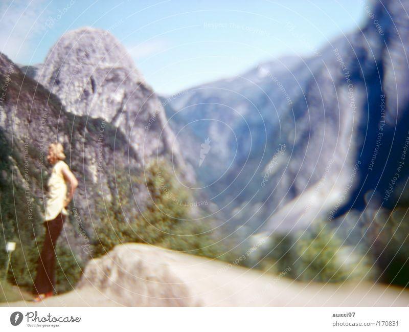 Human being Woman Adults Landscape Mountain Rock Hiking Trip Alps Vantage point Boredom Itinerant tradesman