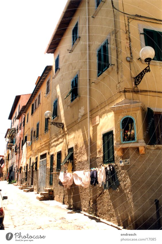 Via Santa Maria House (Residential Structure) Downtown Summer South Italy Virgin Mary Holy Laundry Washing day Street