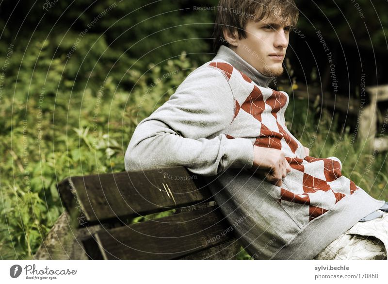 Nature Youth (Young adults) Beautiful Man Calm Adults Face Relaxation Park Moody Contentment Young man Sit Leisure and hobbies Masculine Bridge