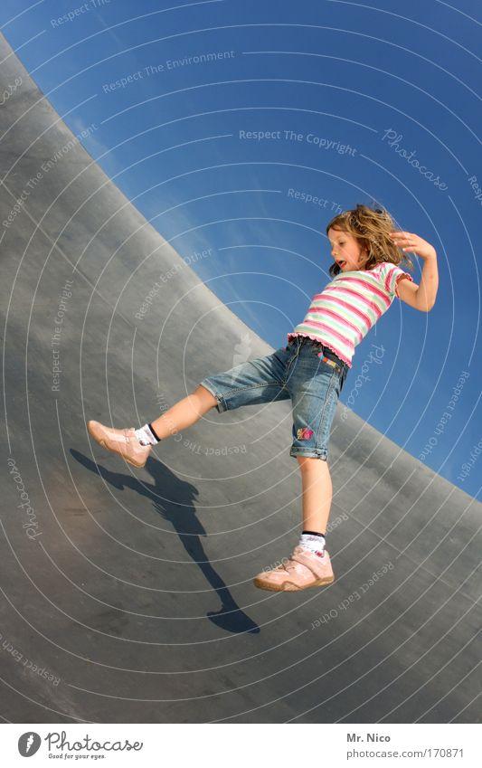 flying emi Exterior shot Girl Flying Running Playing Jump Joy Happy Happiness Contentment Joie de vivre (Vitality) Spring fever Shorts Metal Splits
