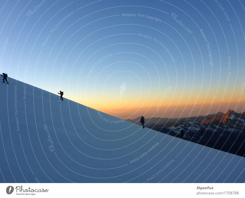 sunrise Climbing Mountaineering Rope team Environment Nature Landscape Sky Cloudless sky Sunrise Sunset Beautiful weather Snow Rock Alps Monte Rosa Peak