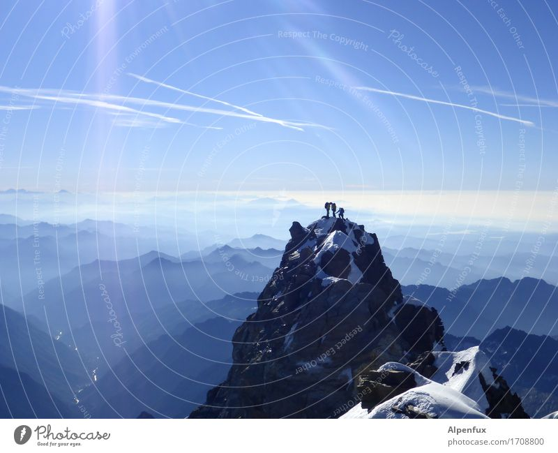 Piedmont from above Climbing Mountaineering Rope team Environment Nature Landscape Cloudless sky Beautiful weather Snow Hill Rock Alps Monte Rosa Dufour peak