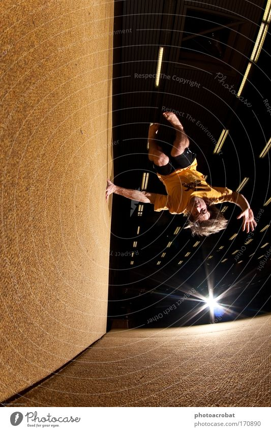 wall-spin Colour photo Flash photo Fisheye Style Sports Parkour freerunning trend sport Movement Rotate Flying Free Infinity Self-confident Life upside down
