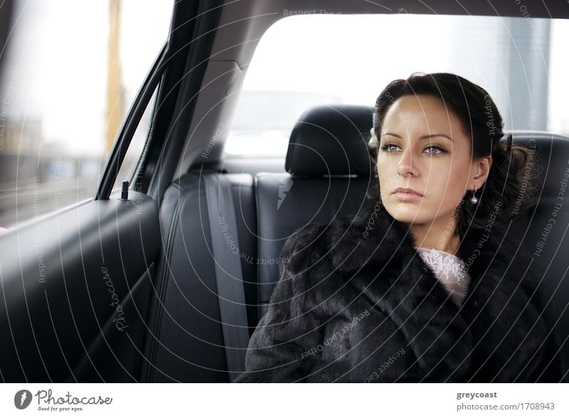 Bride in a car. Happy Vacation & Travel Wedding Human being Girl Young woman Youth (Young adults) Woman Adults 1 18 - 30 years Car Taxi Fur coat Brunette