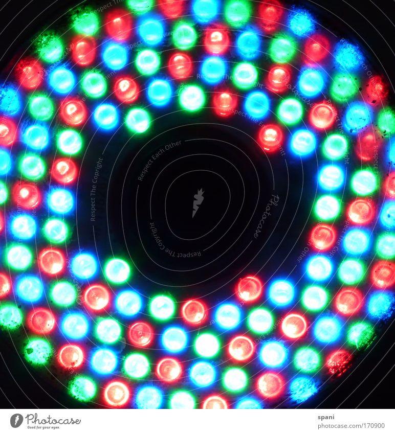 L-E-D Colour photo Multicoloured Experimental Pattern Copy Space middle Artificial light Light Back-light Lamp LED Circle Dazzle Classification Illuminate Round