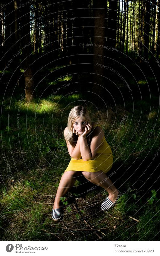 Nature Youth (Young adults) Beautiful Loneliness Forest Dark Feminine Dream Sadness Fear Fashion Blonde Adults Masculine Elegant Environment