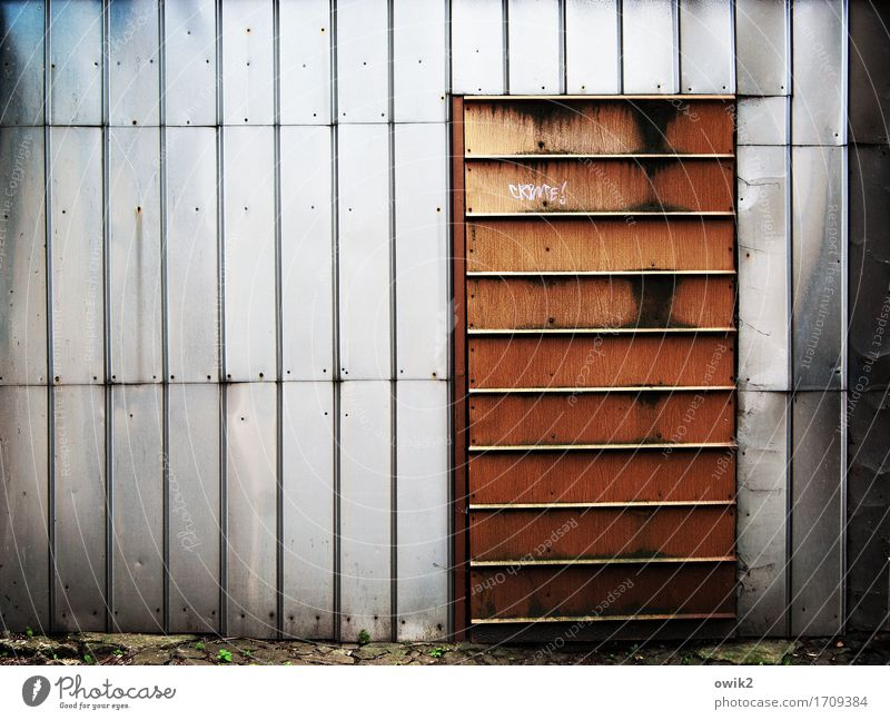 No visits Tin Entrance Front door Main gate Metal Sharp-edged Simple Firm Safety Protection Safety (feeling of) Protective Closed Dismissive Graffiti