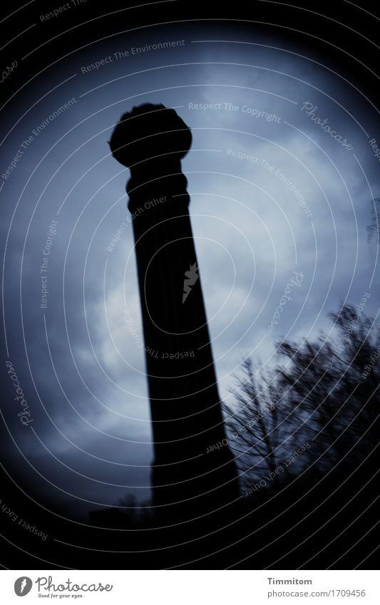 Sky Blue White Clouds Dark Black Berlin Stone Bushes Column Vignetting