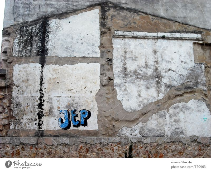 Blue House (Residential Structure) Wall (building) Wall (barrier) Building Graffiti Brown Tracks Keyword Street art Imprint