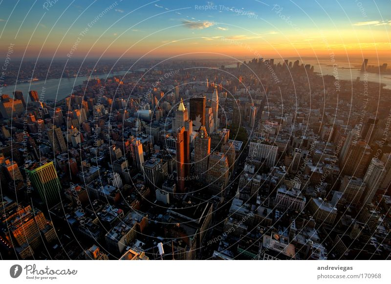 New York skyline Multicoloured Exterior shot Twilight Wide angle New York City USA Skyline Overpopulated High-rise Society Town