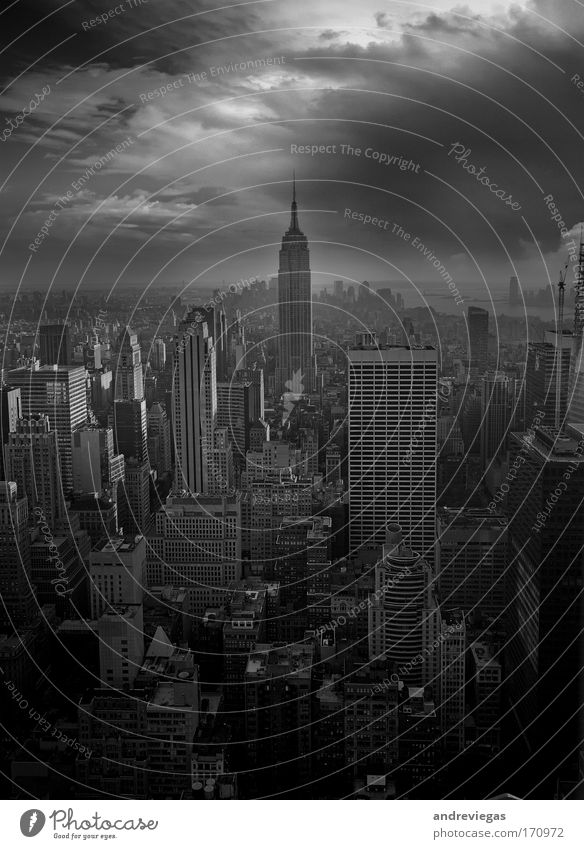 New York City Building Fear Gale Black & white photo Storm Downtown Overpopulated